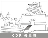 唐山清东陵线描装饰图