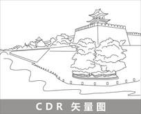 西安古城墙线描装饰图
