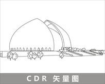 新疆大剧院线描装饰图