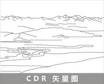 新疆鲁克草原线描装饰图