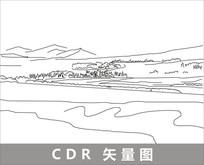 新疆伊犁河线描装饰图