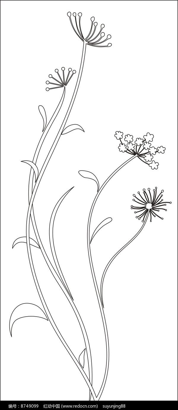 优雅的水草花朵雕刻图案