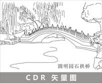 圆明园石拱桥线描装饰图