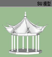 八角亭戏台SU模型