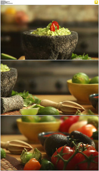 厨房蔬菜和香料实拍视频素材