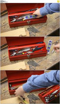红色工具箱实拍视频素材