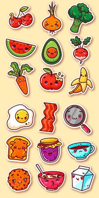 蔬菜和水果搞笑食品贴纸图案