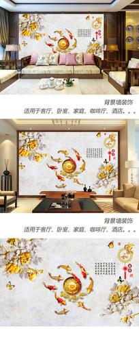 家和富贵牡丹大理石背景墙