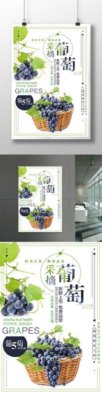 简约美味葡萄采摘促销海报设计
