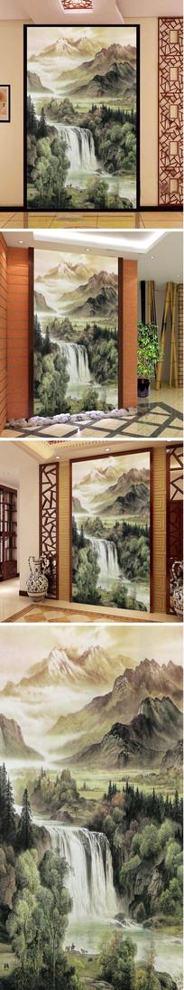 中式山水瀑布玄关背景墙