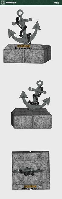 船锚雕塑su模型