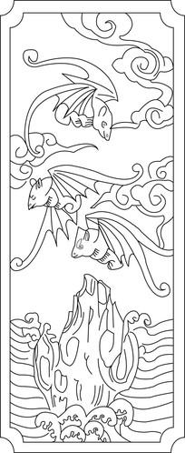 蝙蝠雕刻图案