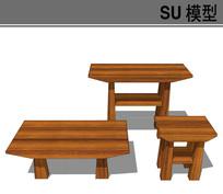 多高度木桌子模型