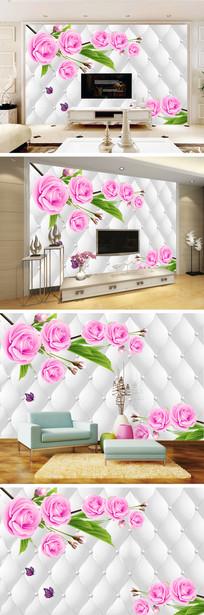 手绘玫瑰蝴蝶软包背景墙