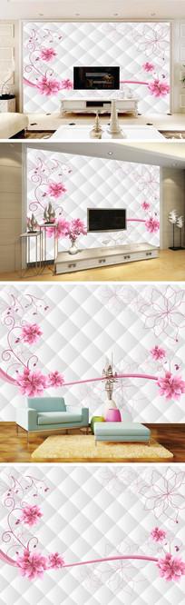 线条花朵花藤软包背景墙
