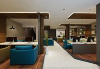 蓝色椅子现代网咖模型