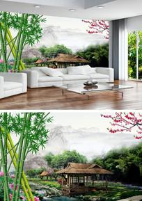 流水生财山水风景画背景墙