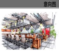 工业风办公空间手绘效果图