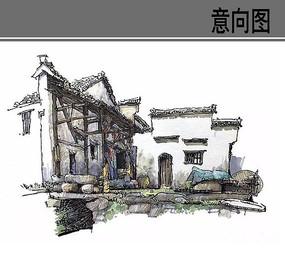 古村落建筑手绘 JPG