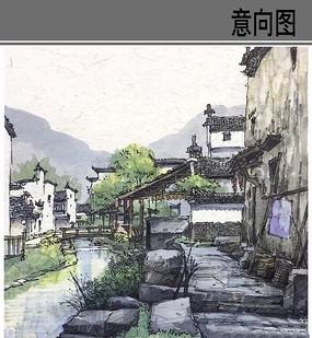 古镇风景彩色手绘 JPG