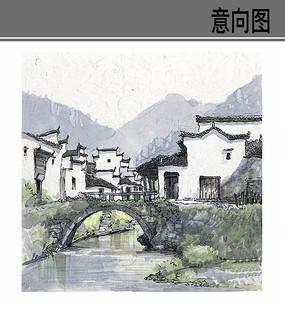 古镇风景手绘 JPG