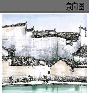 古镇建筑手绘 JPG