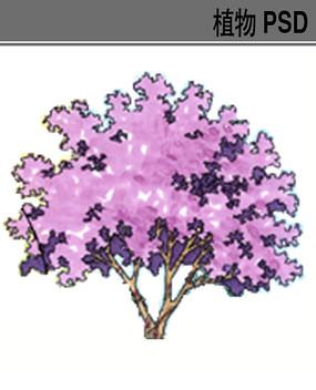 色叶灌木手绘PS素材 PSD