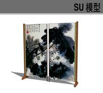 中式国画屏风隔断