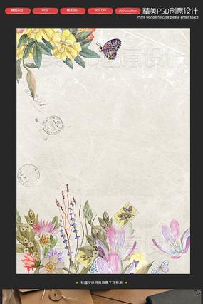复古手绘田园花朵唯美信纸