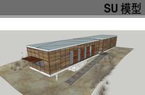 户外木格栅集装箱展厅模型