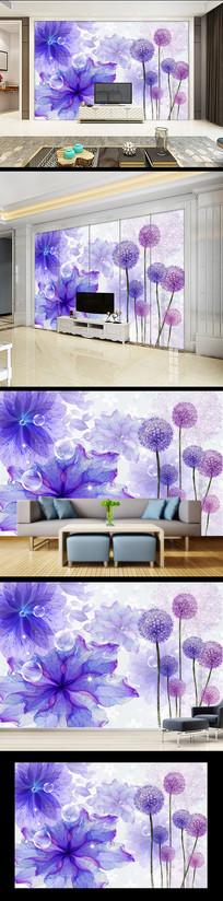 现代简约时尚花卉电视背景墙
