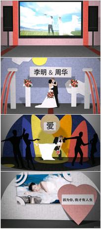 浪漫剪纸风格婚礼卡通折纸模板