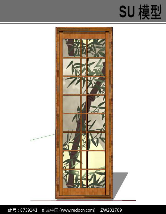 日式木质长扁窗户图片