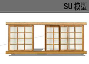 日式木质推门窗户