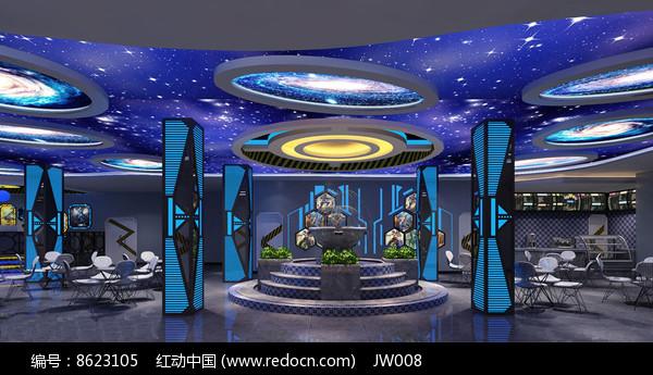 宇宙星球风网咖休憩区效果图图片