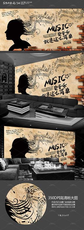 怀旧KTV音乐背景墙墙画展板