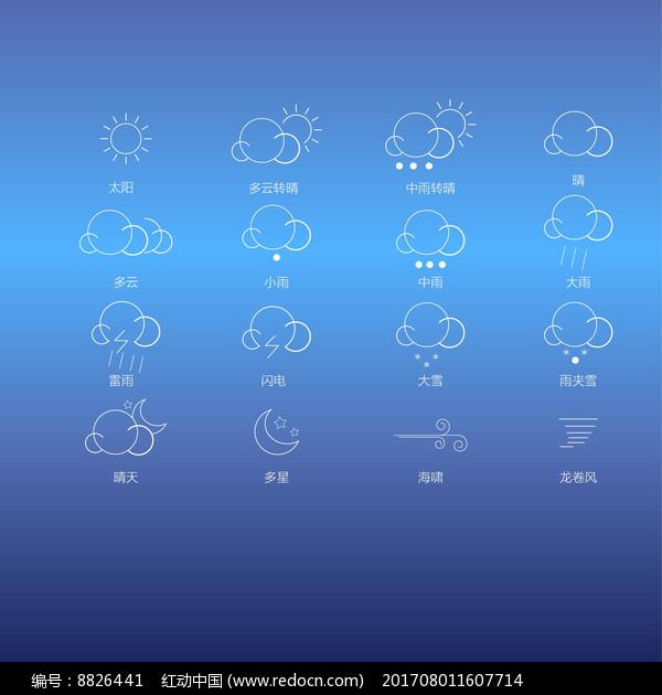 线性白色简约天气图标图片