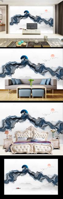 抽象水墨画背景墙