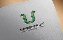 拼图公司绿色logo设计