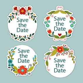 花卉婚礼标签矢量素材
