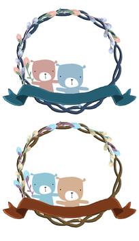 可爱卡通动物花圈背景素材