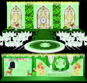 绿色欧式森系主题婚礼背景