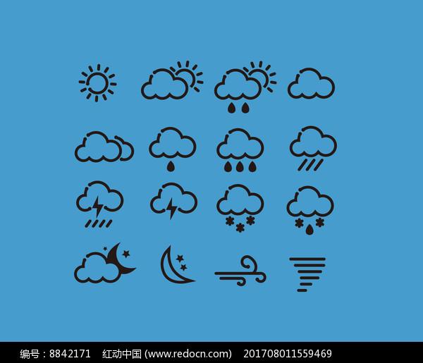 线性天气图标设计图片