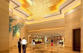 酒店金色调过厅效果图