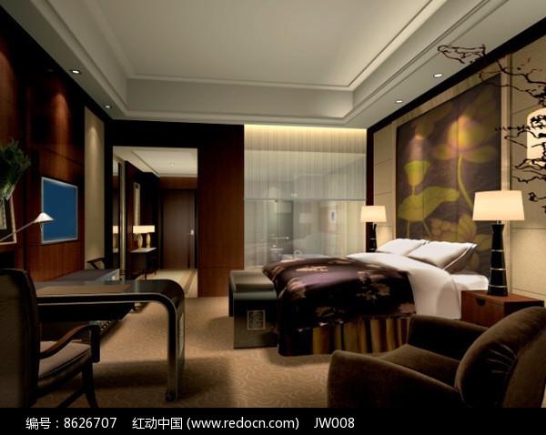 酒店紫色调标准房效果图图片