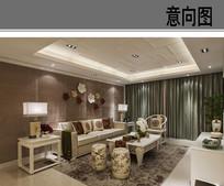 客厅中式纹样装饰