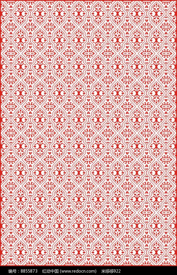 红色花纹雕刻图案图片