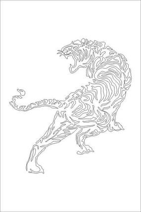 老虎雕刻图