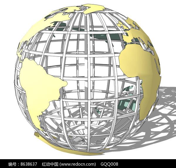 地球造型雕塑su模型图片