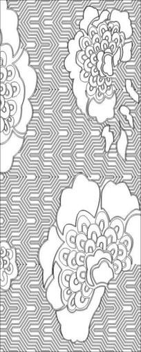 孔雀花蕾雕刻图案
